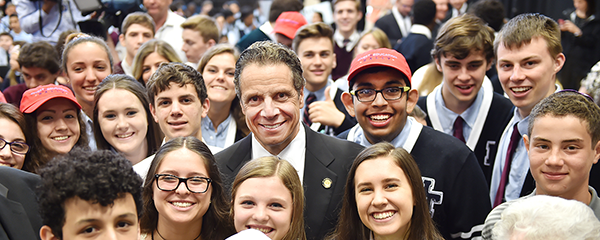 Governor Cuomo with students